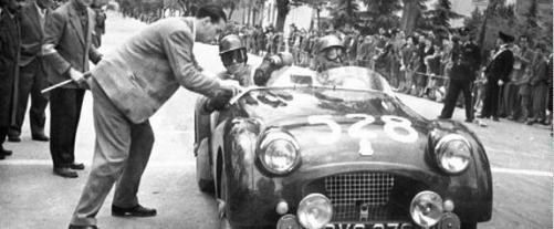 Ken Richardson and Maurice Gatsonides in their Triumph for the 1954 Mille Miglia