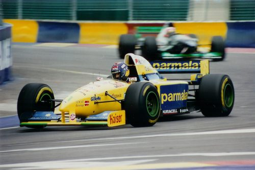 Pedro hustling his Forti into unexpected places, Adelaide 1995 (Photo: Multimedia Motorsport)