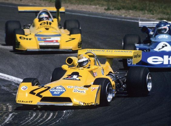 Harald (#22) leads Patrick Tambay (#3) and Gérard Larrousse (#7) at the first Hockenheim round of the 1975 F2 season. Harald retired from the race, which Larrousse later won.
