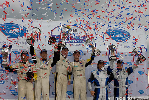 Johnny O'Connell and Jan Magnussen, the centre pair, win at Mosport on their way to the 2008 American Le Mans series GT title.