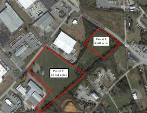 Aerial map of two parcels of land in the Forks of the River Industrial Park