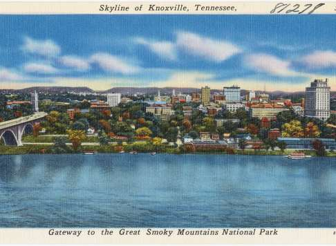vintage postcard of knoxville skyline