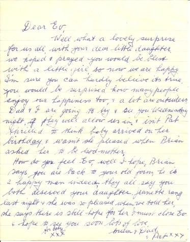 Handwritten by Nell Storer - June 1960