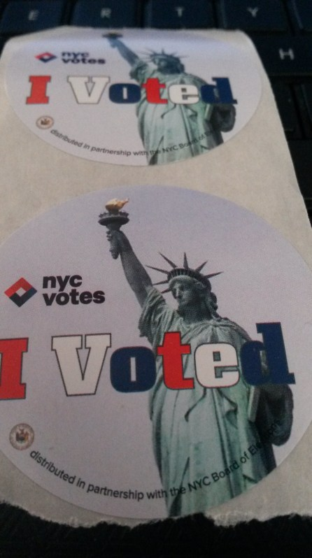 "I never voted because my party was independent. So Ironically they gave this ""I Voted"" sticker."