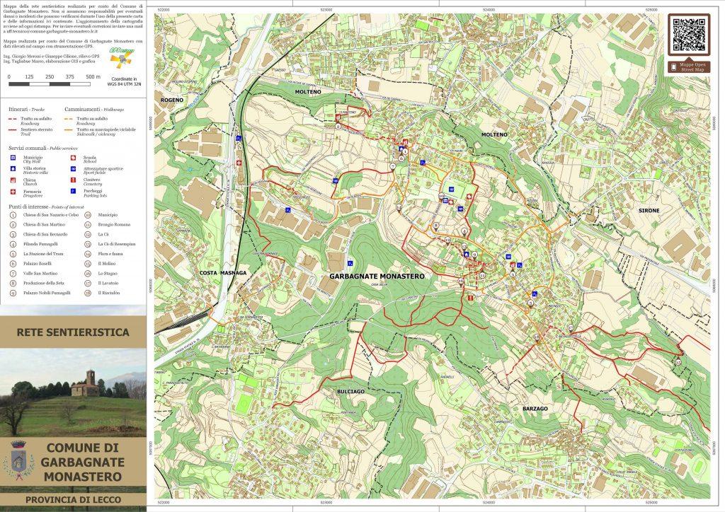 cartina dei sentieri pieghevole Garbagnate Monastero GPSBrianza