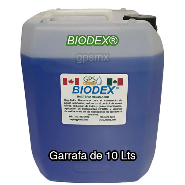 Garrafa de 10 Lts de Biodex regulador bacteriano para planta de tratamiento de agua residual