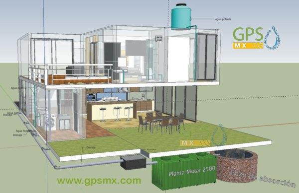 Imagen 2 3d Microplanta de tratamiento de agua residual Gpsmx Modelo 2500 3 modulo