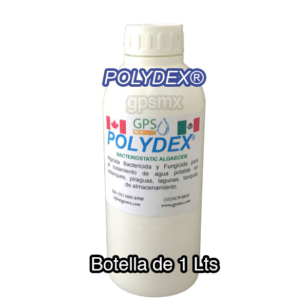 Presentación Botella de 1 Lts Polydex® Algicida Bactericida y Fungicida para el tratamiento de agua potable en embotelladoras, estanques, piraguas, lagunas, tanques de almacenamiento grado alimenticio, certificado NSF