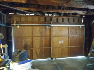old sliding garage door