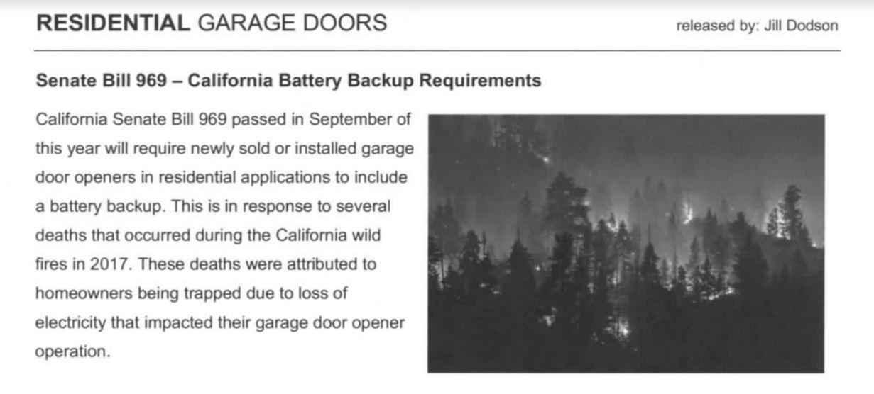 Battery Back Up Law In California 2019 Gr8 Garage Door