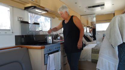 Lyn preparing the last meal of the trip.
