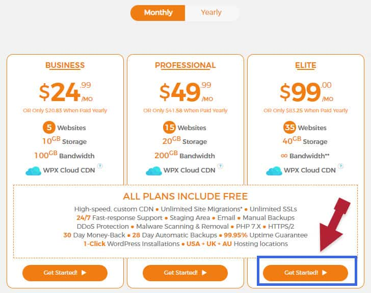 Choose WPX Hosting Plan