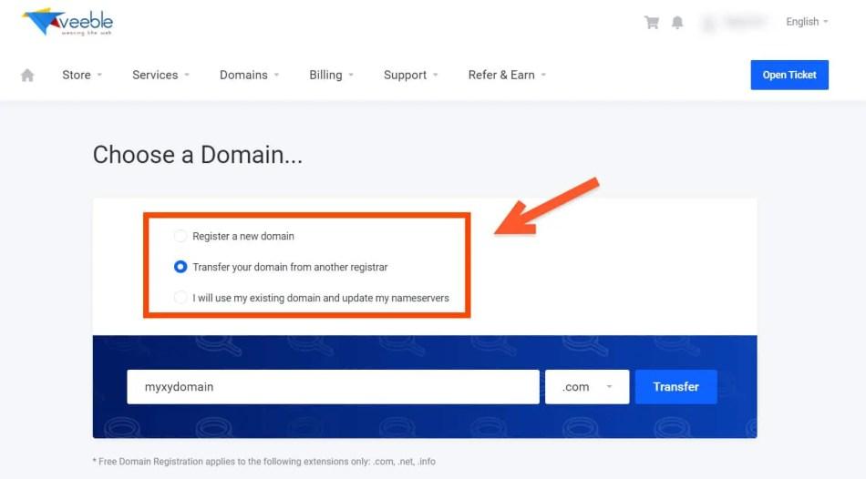 Veeble Domain Registration