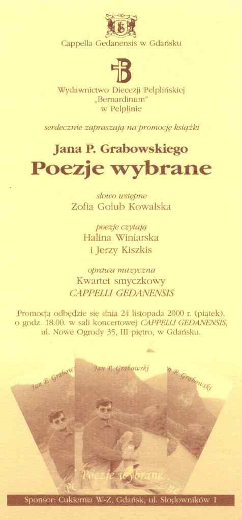 Zaproszenie napromocję Poezji wybranych