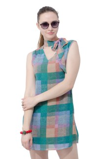 Retro dress with neck tie
