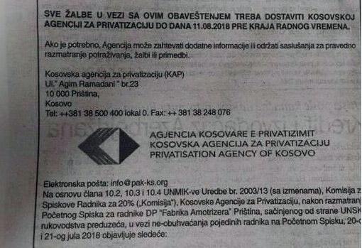 Приватизација Фабрике амортизера: Осим права на рад, Србима одузето и право на деонице