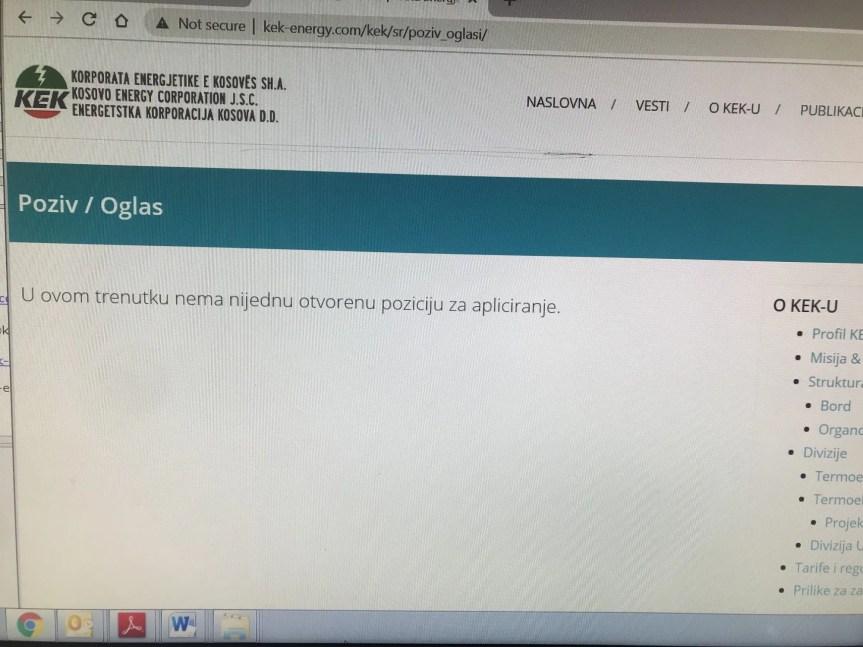 Објављивањем конкурса на само једном службеном језику, КЕК прекршио Закон о употреби језика