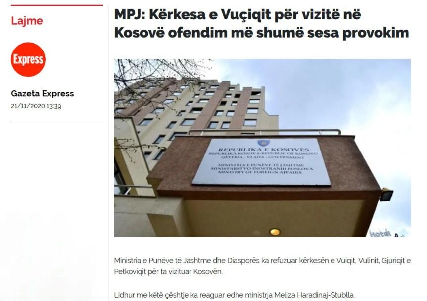 Косовско министарство спољних послова одбило захтев српских званичника да посете Косово