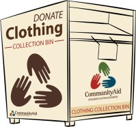 Picture of Community Aid clothing collection bin.