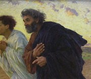 Peter and John running to the empty tomb