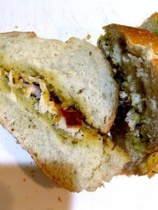 cutting open a sandwich