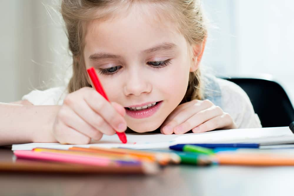 girl doing an art project