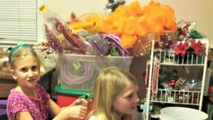girls playing in craft room