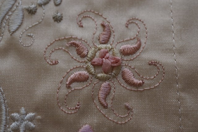 close up of ribbon embroidery