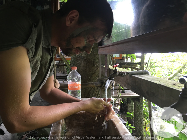 Removing our face masks at the sanctuary at Laguna Catemaco in Veracruz, Mexico.
