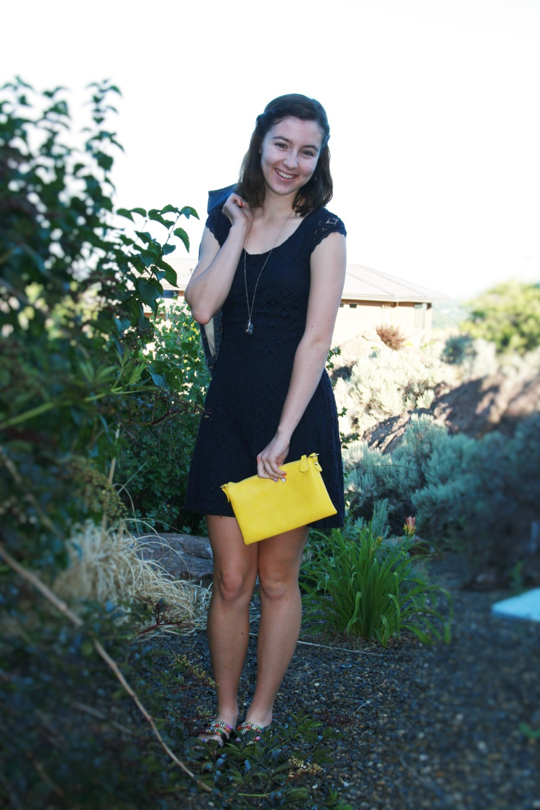 affordable fashion blog, navy lace dress, yellow purse