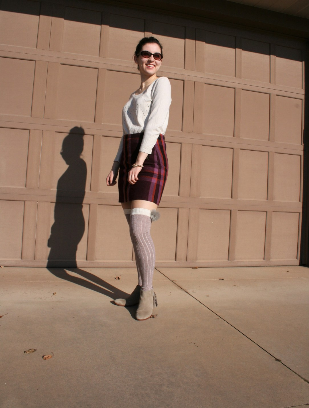plaid skirt, pom pom knee socks, DSW, sweater weather