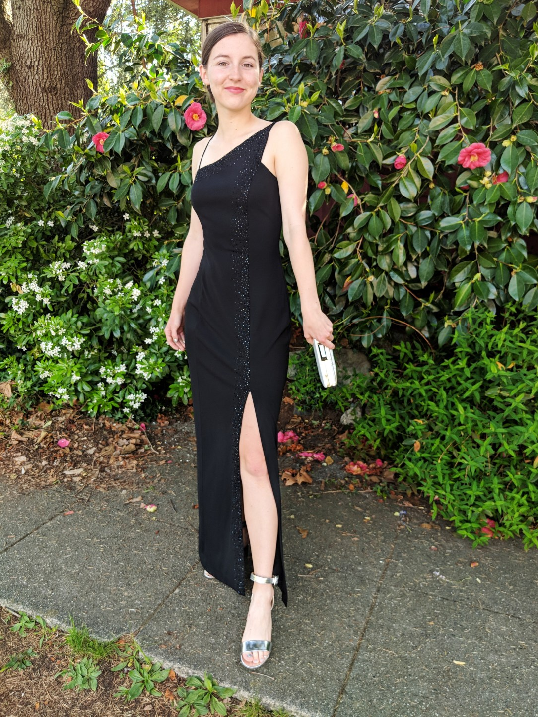black beaded prom dress with slit