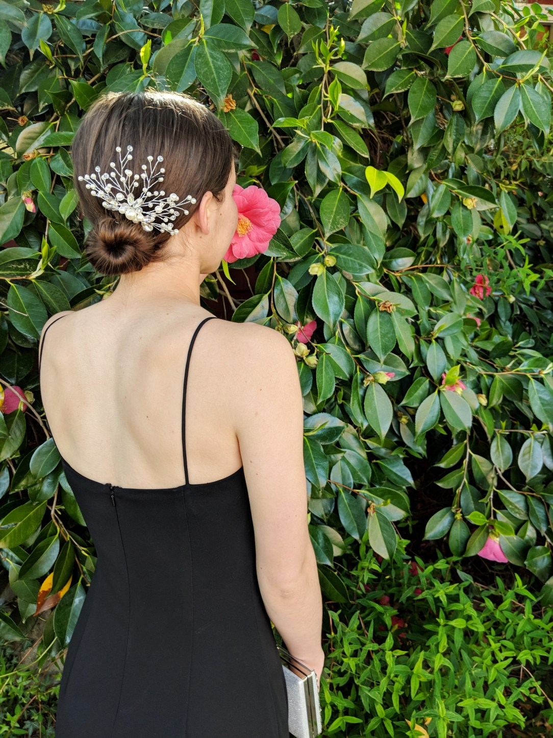 black gown, silver pearl hair piece