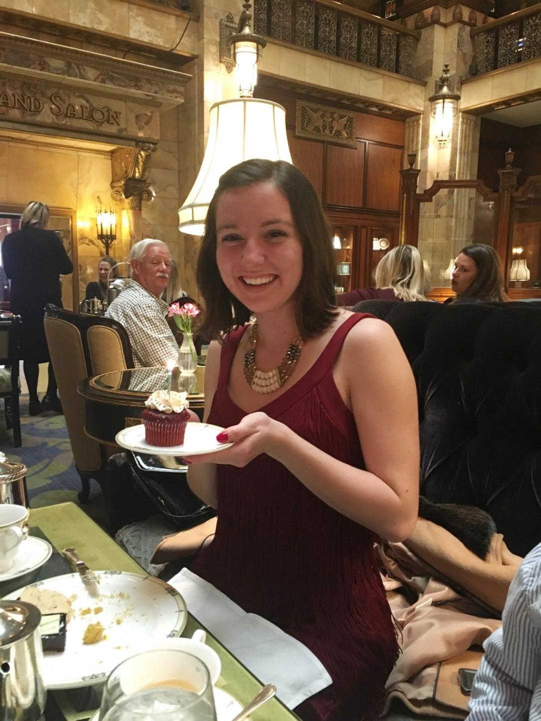 birthday cupcake statement necklace red dress