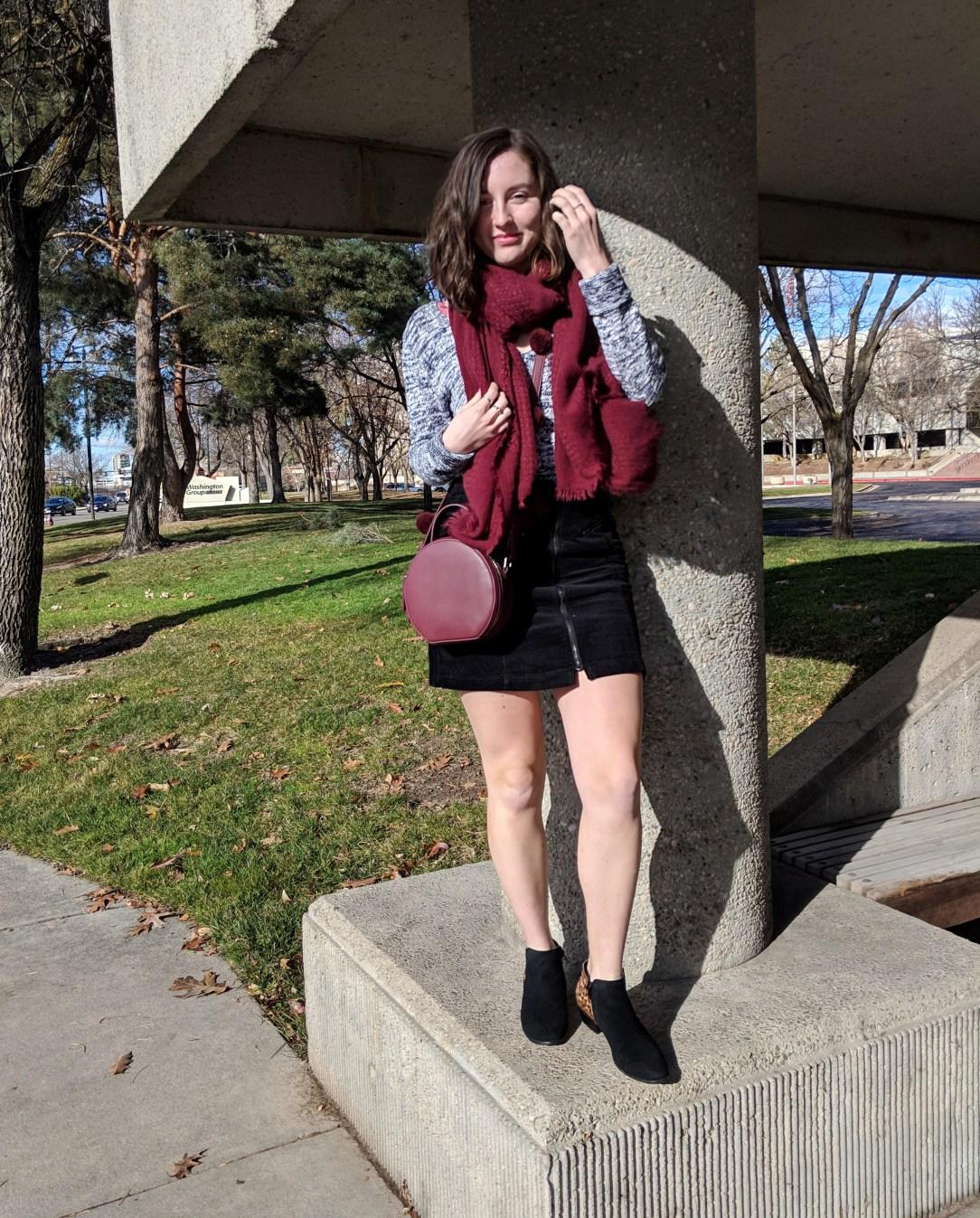 black booties maroon accessories