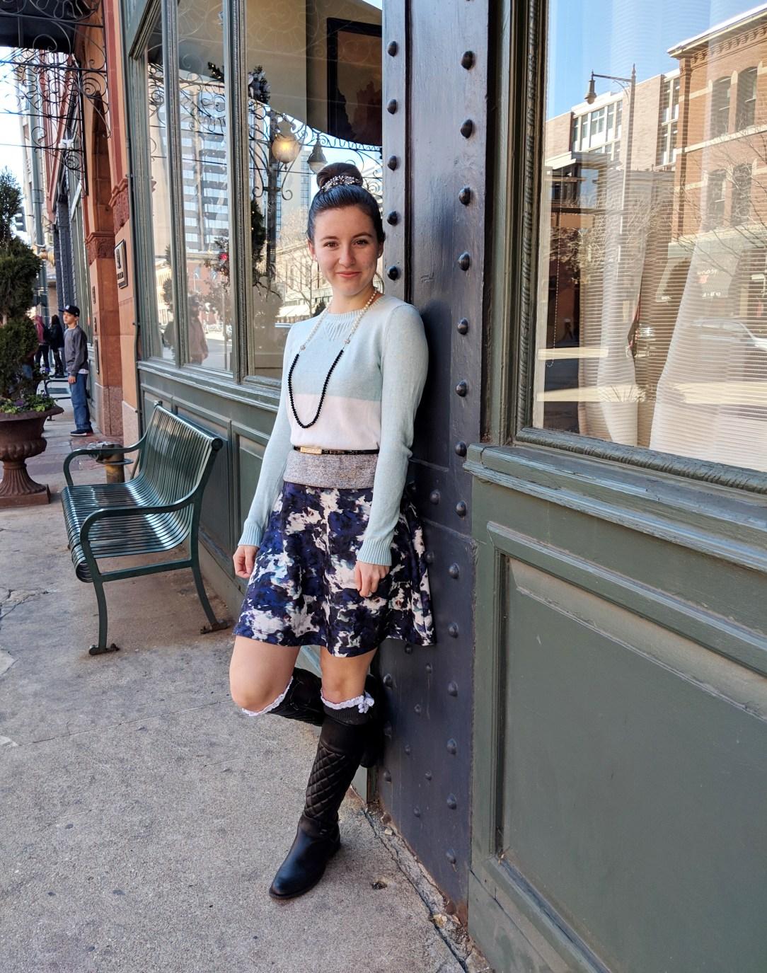 blue outfit downtown Denver