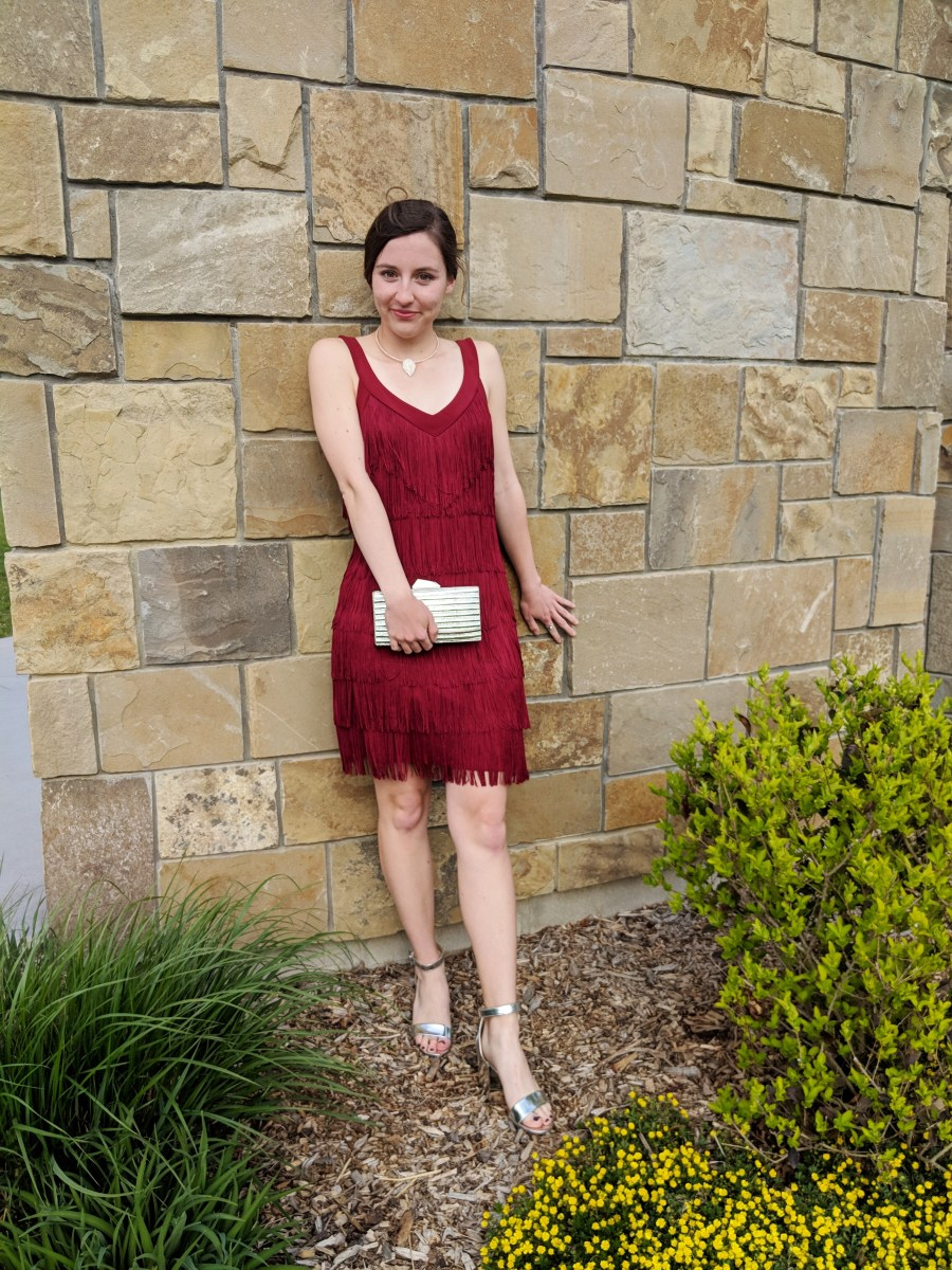 red fringe Banana Republic dress