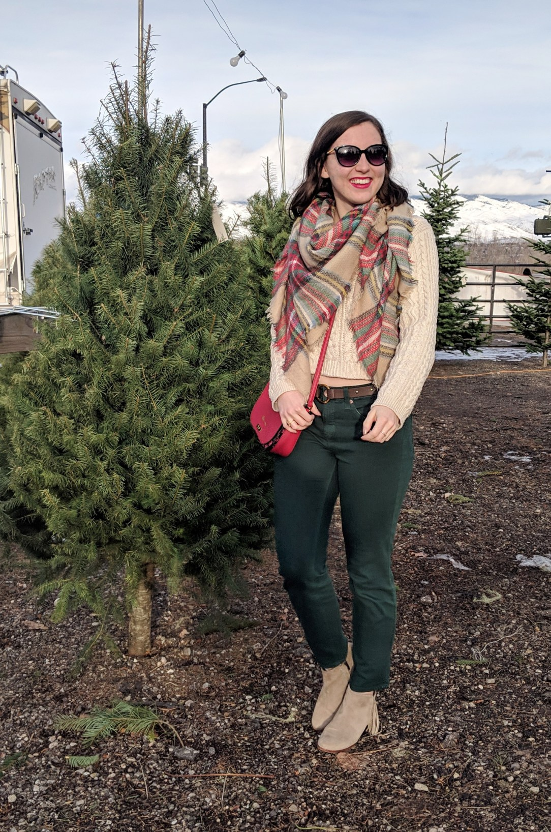 Christmas tree farm plaid blanket scarf