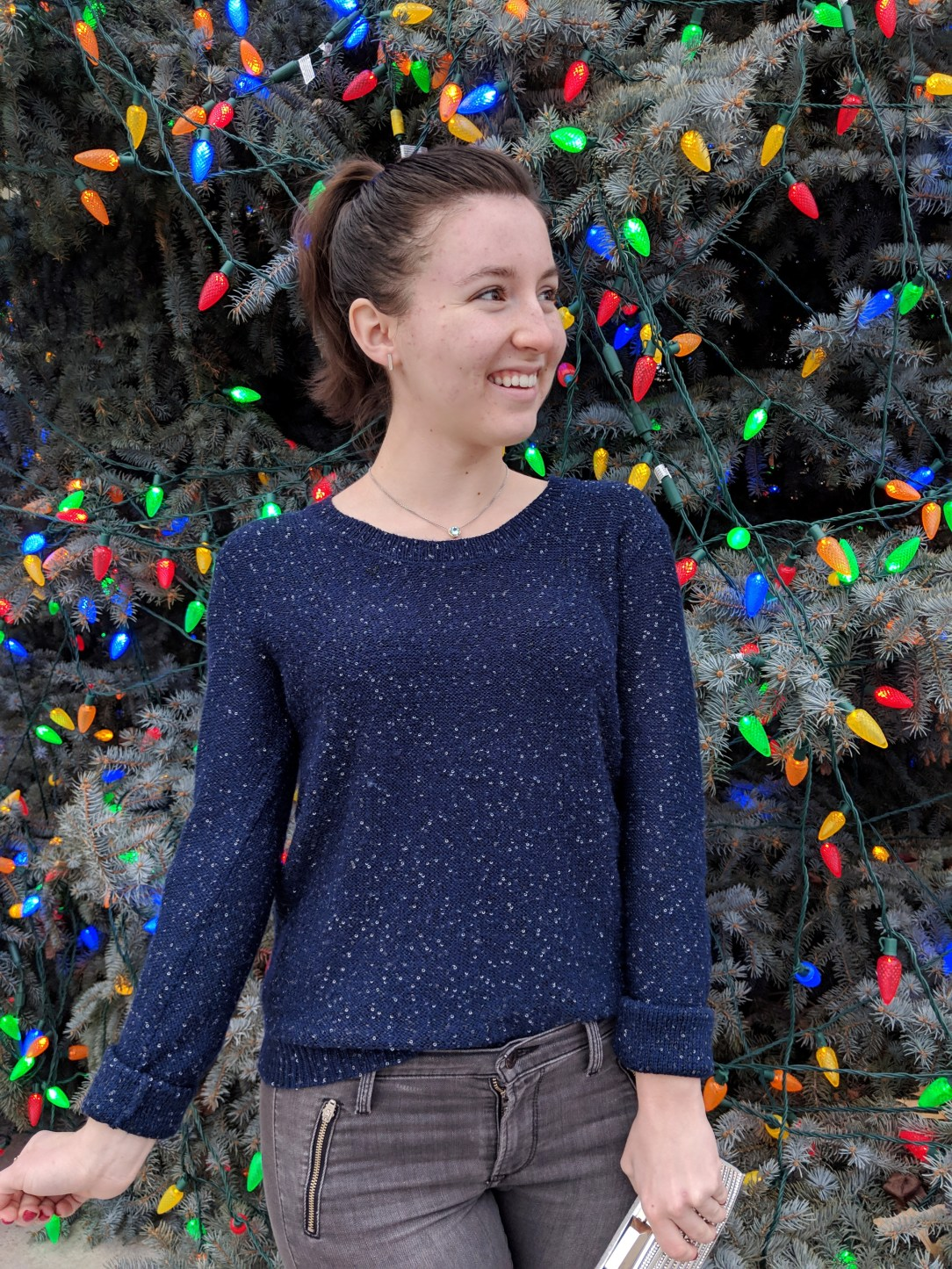 sparkly navy sweater from JCPenney