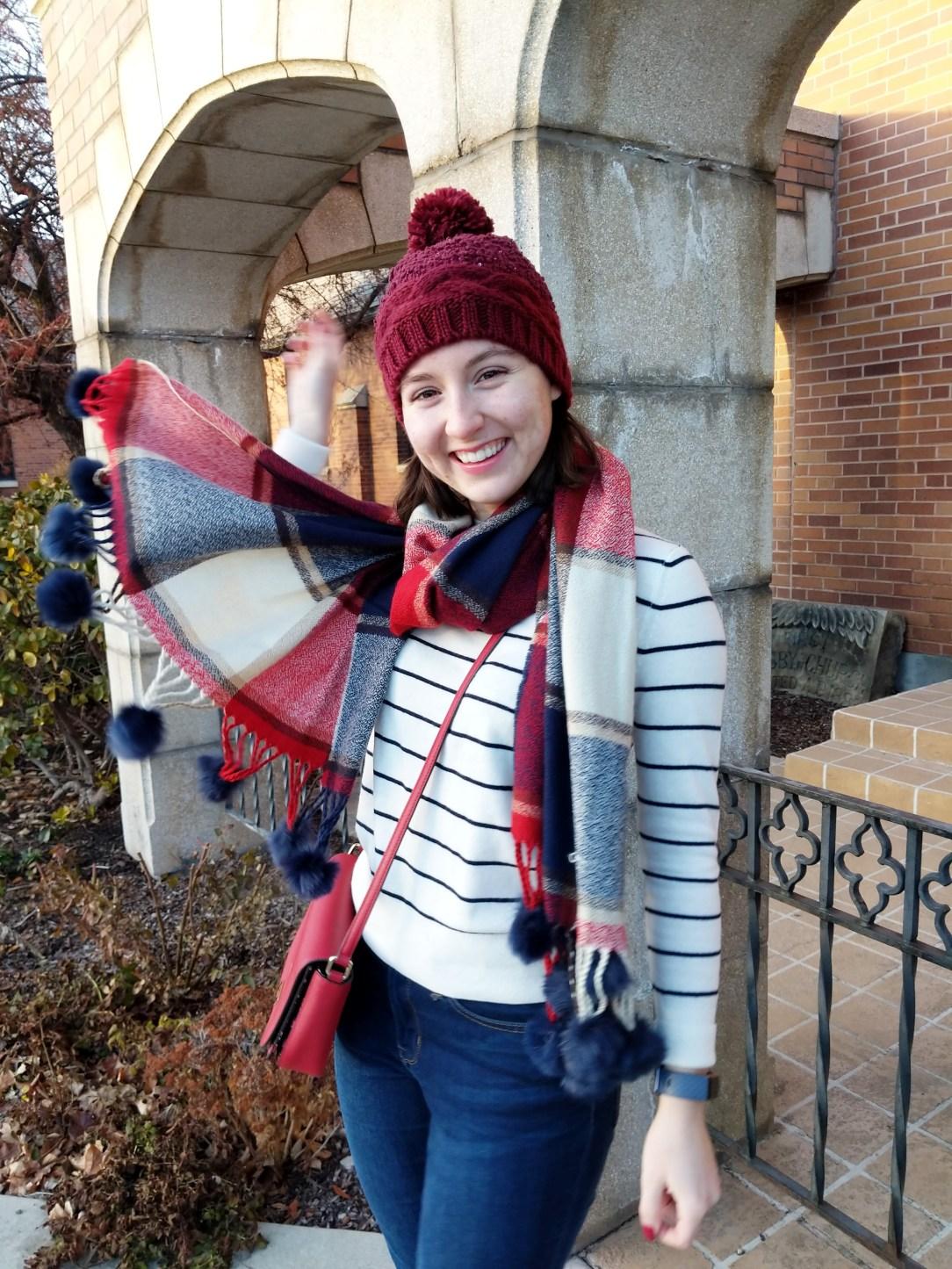 plaid Loft scarf pom poms