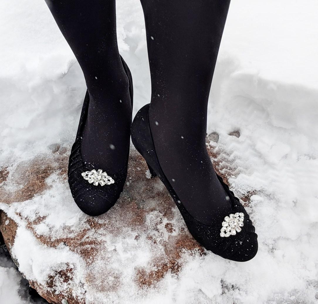 silver sparkly black heels