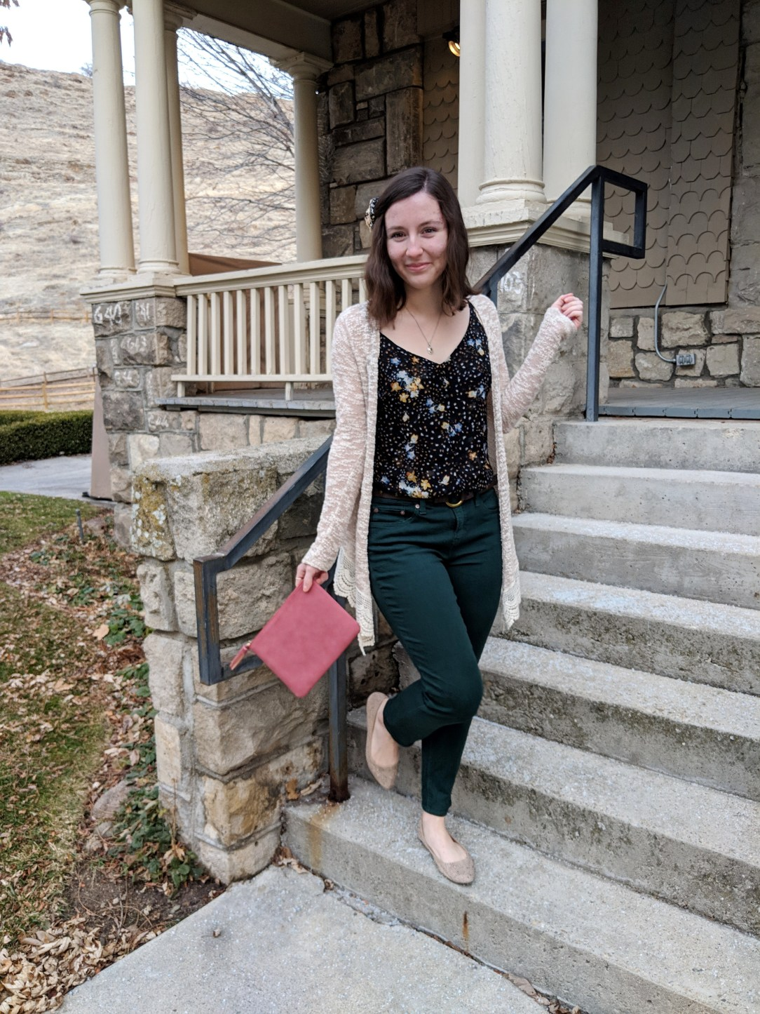 black floral Cabi cami and green JCPenney pants