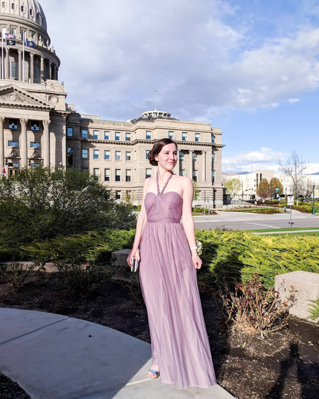purple mauve tulle Jenny Yoo dress