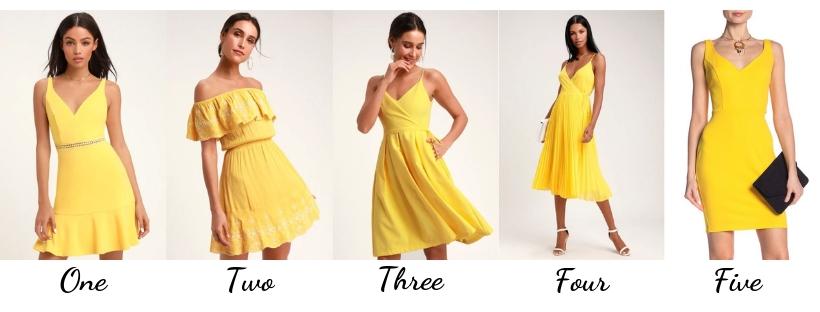 shopping yellow dresses, spring dresses