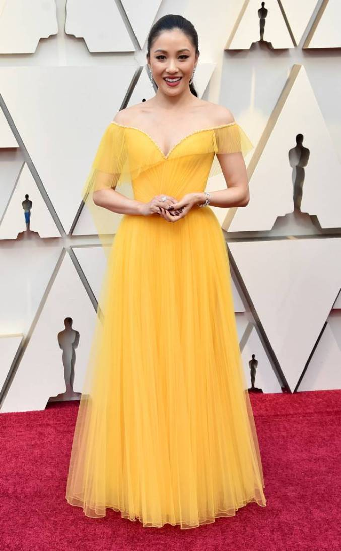 Constance Wu's yellow custom Versace gown