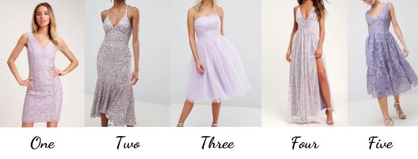 lavender dresses, purple dresses, metallic dresses