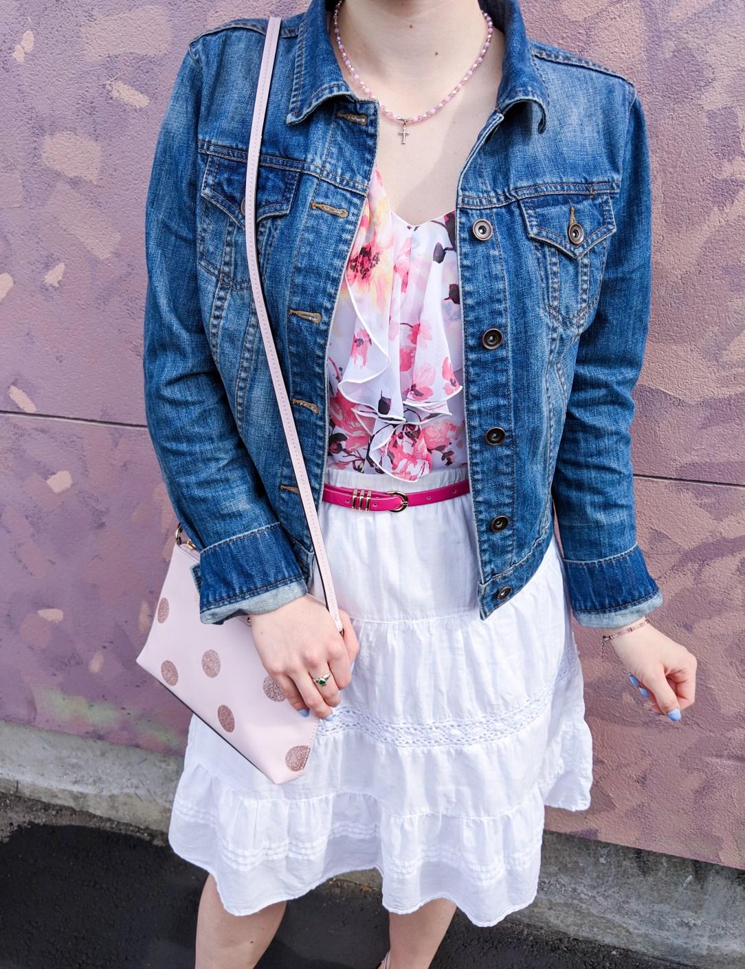 jean jacket, floral blouse, pink polka dot purse