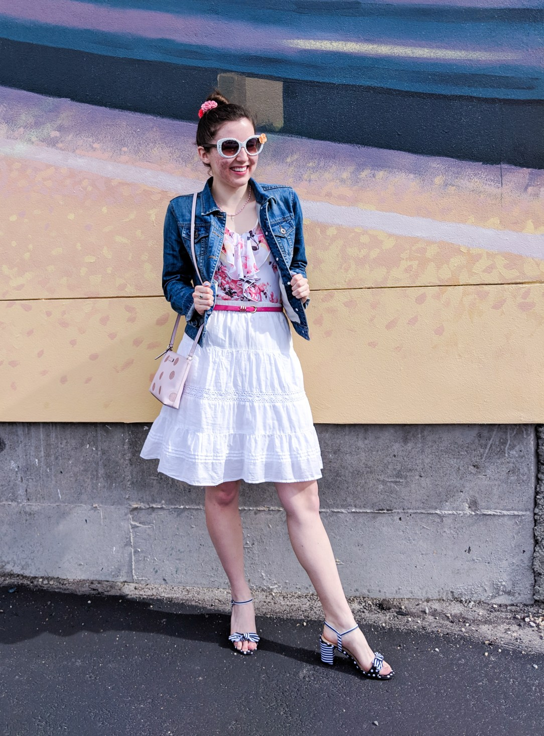 floral ruffle blouse, jean jacket, white skirt