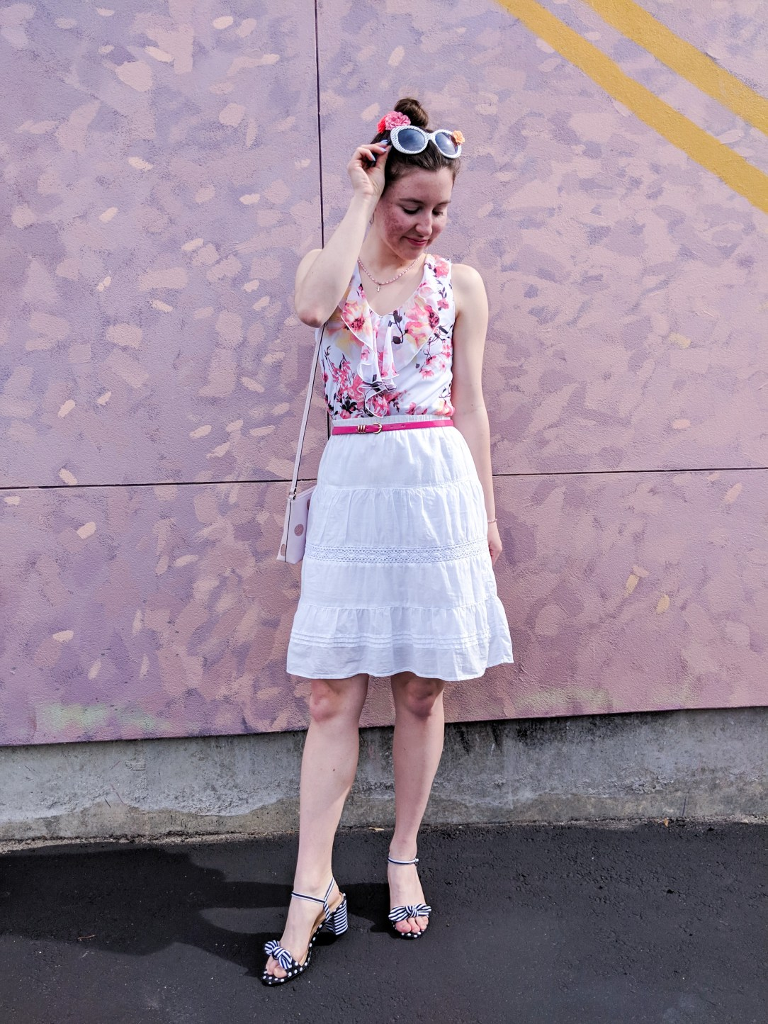 pink floral blouse, white skirt, striped heels