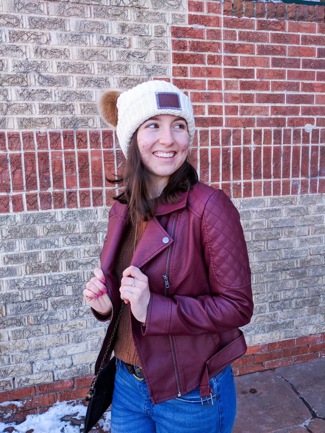 Love Your Melon double-pom beanie, burgundy jacket